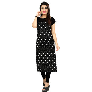 BLANCORA Women's Short Sleeve Dotted Black and White Self Design Straight Crepe Kurti