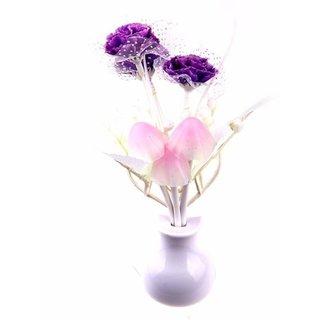 Bemoree Mushroom Auto Sensor LED Color Changing Night Lamp Wall Lamp Light -Purple