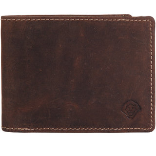 LEO TORRESI Crazy Horse Genuine Leather Men's Trifold Wallet with RFID Protection,  Medium Brown