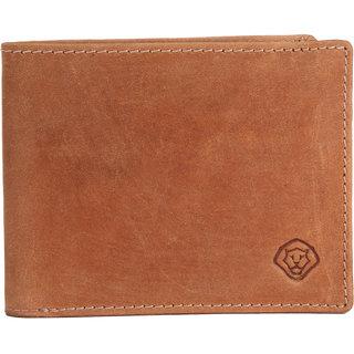 LEO TORRESI Crazy Horse Genuine Leather Men's Bi-fold Wallet with RFID Protection,  Tan