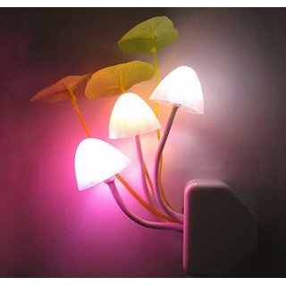 Mushroom Indoor Night Light With Auto(Day-Night) Sensor-Induction LED Wall Lamp Colorful Small Portable Energy Saving Light