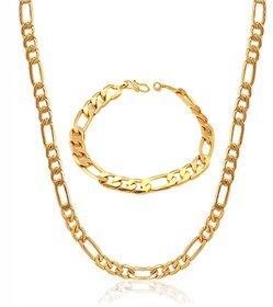 GoldNera Sachin Chain Designer Alloy Gold Plated Combo Of Chain  Bracelet For Men