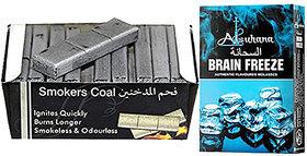 SEGGO Premium Quality Smoker 60 Brick Coals with Alsuhana Brain Freeze Premium Quality Assorted Hookah Flavour/Molasses Flavours (Combo Pack of 2)