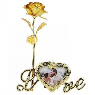 Beautiful Valentines Day Gifts 24k Golden Foil Rose Flower with Beautiful Photo Frame Flower Stand