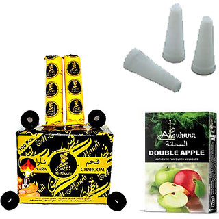 SCORIA Al-Fandi Pack of 10 Roll Hookah Charcoals and 50Pcs Mini Hookah Mouth Tip Filters Disposable White MouthTips with Alsuhana Double Apple Assorted Hookah Molasses Flavours(Combo Pack of 3)