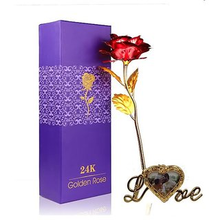 Valentines Day Gifts 24k Golden Foil Red Rose Flower with Beautiful Photo Frame Flower Stand