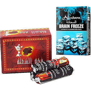 SEGGO Flavoured Hookah Charcoal - 10 Rolls (100 disks) with Alsuhana Brain Freeze Premium Quality Assorted Hookah Flavour/Molasses Flavours (Combo Pack of 2)