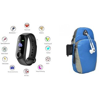 M3 fitness band and Arm bag  Smart phones compatiable fitness band   Heart rate band  Health Watch   Calories Tracker Band   Step Count Band  fitness tracker   bluetooth smart band   Wrist Watch band   smart band   With Alarm System  Best in Quality