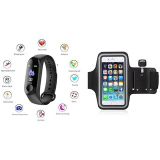 M3 fitness band and Arm band  Smart phones compatiable fitness band Heart rate bandHealth Watch Calories Tracker Band Step Count Bandfitness tracker bluetooth smart band Wrist Watch band smart band With Alarm SystemBest in Quality