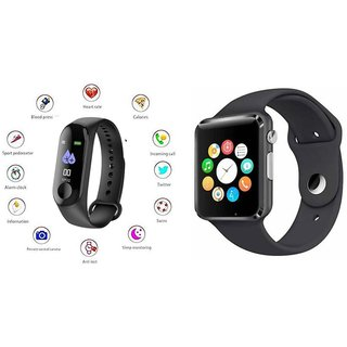 M3 fitness band and A1 Smart WatchSmart phones compatiable fitness band Heart rate bandHealth Watch Calories Tracker Band Step Count Bandfitness tracker bluetooth smart band Wrist Watch band smart band With Alarm SystemBest in Quality