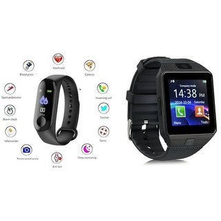 M3 fitness band and DZ09 Smart WatchSmart phones compatiable fitness band Heart rate bandHealth Watch Calories Tracker Band Step Count Bandfitness tracker bluetooth smart band Wrist Watch band smart band With Alarm SystemBest in Quali
