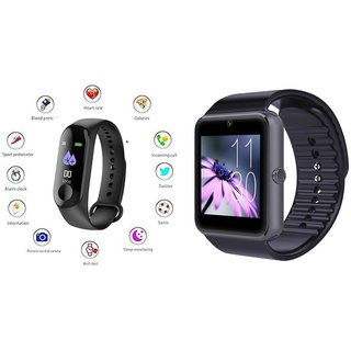 M3 fitness band and Gt08 Smart WatchSmart phones compatiable fitness band Heart rate bandHealth Watch Calories Tracker Band Step Count Bandfitness tracker bluetooth smart band Wrist Watch band smart band With Alarm SystemBest in Quali