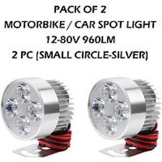 BIKE / MOTORBIKE / CAR SPOT LIGHT LED FOG Headlamp 4 LED LIGHT 12-80V 960lm - 2 PC (SMALL CIRCLE-SILVER)