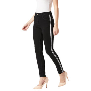 Miss Chase Women's Black Slim Fit Mid Rise Twill Tape Detailing Clean Look Acid Wash Crop Length Stretchable Denim Jeans