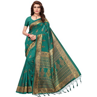 Riti Riwaz Dark Green Printed Mysore Silk With Tessals Saree With Blouse Piece