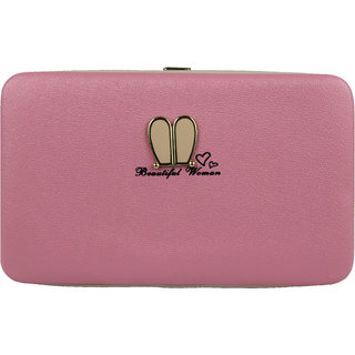 Feather Cruz Women's Stylish Mobile Holder Hand Clutch (Pink)