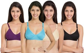 Women's Multicolor Plain Cotton Lycra Non-Padded Bra (Pack of 4) - (Color May Vary)