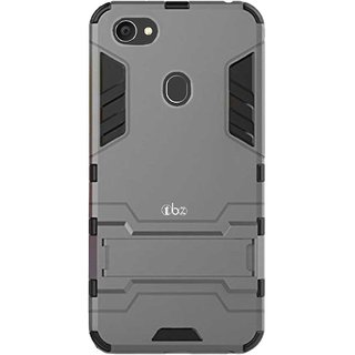 TBZ Tough Heavy Duty Shockproof Dual Protection Layer Hybrid Kickstand Back Case Cover for Oppo F7 -Grey
