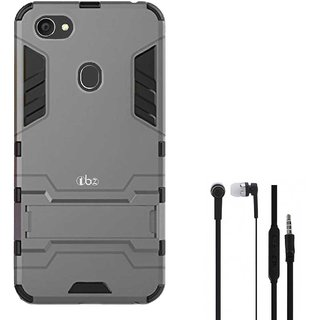 TBZ Tough Heavy Duty Shockproof Defender Dual Protection Layer Hybrid Kickstand Back Case Cover for Oppo F7 with Earphone-Grey