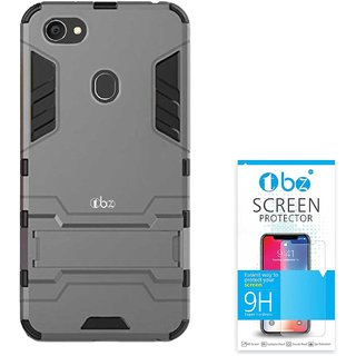 TBZ Tough Heavy Duty Shockproof Dual Protection Layer Kickstand Back Case Cover for Oppo F7 with Tempered Screen Guard -Grey