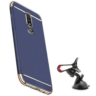 TBZ Ultra-thin 3 in 1 Anti-fingerprint Electroplate Metal Texture Armor PC Hard Back Case Cover for OnePlus 6 with Mobile Car Mount Holder Stand -Blue