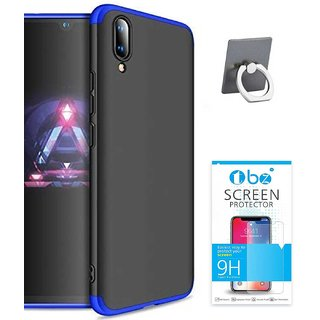 TBZ 3-In-1 Slim Fit 360 Degree Protection Bumper Back Case Cover for RealMe 2 Pro with Mobile Ring Holder and Tempered Screen Guard -Blue