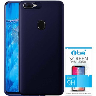 TBZ Soft Silicone Flexible TPU Slim Back Case Cover for Oppo F9 Pro with Tempered Screen Guard -Blue