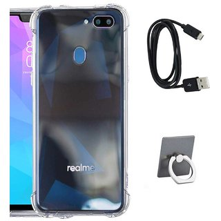 TBZ Transparent Bumper Corner TPU Case Cover for Oppo RealMe 2 with Mobile Ring Holder