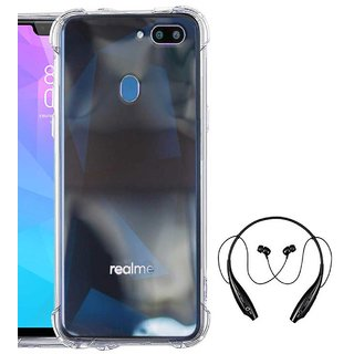 TBZ Transparent Bumper Corner TPU Case Cover for Oppo RealMe 2 with Bluetooth Headset Headphones