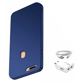 TBZ All Sides Protection Hard Back Case Cover for Realme 2 Pro with USB Charger Adapter -Blue