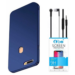 TBZ All Sides Protection Hard Back Case Cover for Realme 2 Pro with Earphone and Tempered Screen Guard -Blue
