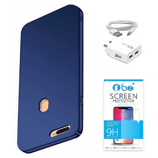 TBZ All Sides Protection Hard Back Case Cover for Realme 2 Pro with USB Charger Adapter and Tempered Screen Guard -Blue