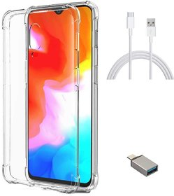 TBZ Soft Silicon Transparent Bumper Corner TPU Case Cover for OnePlus 6T with Cute Micro USB OTG Adapter and Type C Data Cable