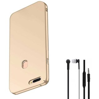 TBZ All Sides Protection Hard Back Case Cover for Realme 2 Pro with Earphone -Golden