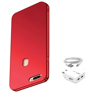 TBZ All Sides Protection Hard Back Case Cover for Realme 2 Pro with USB Charger Adapter -Red