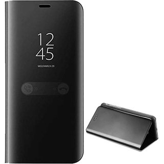 TBZ Luxury Mirror Clear View Magnetic Stand Flip Folio Case for OnePlus 6T -Black