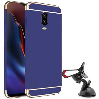 TBZ Ultra-thin 3 in 1 Anti-fingerprint Electroplate Metal Texture Hard Back Case Cover for OnePlus 6T with Mobile Car Mount Holder Stand -Blue