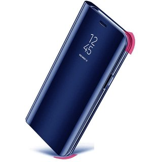 TBZ Luxury Mirror Clear View Magnetic Stand Flip Folio Case for Vivo V11 Pro -Blue