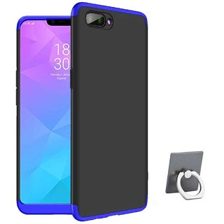 TBZ Ultra-thin 3-In-1 Slim Fit 360 Degree Protection Hybrid Hard Bumper Back Case Cover for RealMe C1 with Mobile Ring Holder -Blue