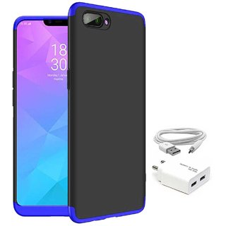TBZ Ultra-thin 3-In-1 Slim Fit 360 Degree Protection Hybrid Hard Bumper Back Case Cover for RealMe C1 with USB Charger Adapter -Blue