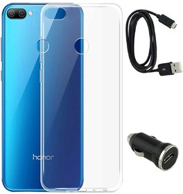 TBZ Soft Silicone TPU Transparent Clear Back Case Cover for Huawei Honor 9N with Car Charger and Data Cable