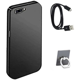 TBZ All Sides Protection Hard Back Case Cover for RealMe C1 with Data Cable and Mobile Ring Holder -Black