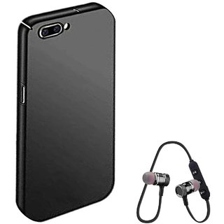 TBZ All Sides Protection Hard Back Case Cover for RealMe C1 with Bluetooth Headset Headphones -Black