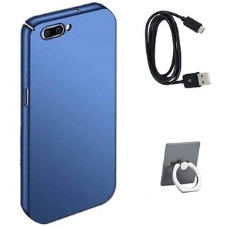 TBZ All Sides Protection Hard Back Case Cover for RealMe C1 with Data Cable and Mobile Ring Holder -Blue