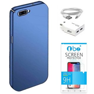 TBZ All Sides Protection Hard Back Case Cover for RealMe C1 with USB Charger Adapter and Tempered Screen Guard -Blue