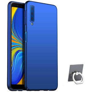 TBZ All Sides Protection Hard Back Case Cover for Samsung Galaxy A7 (2018) with Mobile Ring Holder -Blue