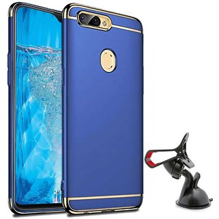 TBZ Ultra-thin 3 in 1 Anti-fingerprint Electroplate Metal Texture Hard Back Case Cover for Realme U1 with Mobile Car Mount Holder Stand -Blue