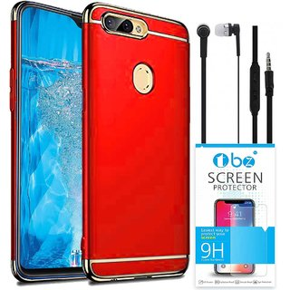 TBZ Ultra-thin 3 in 1 Shockproof Electroplate Metal Texture Hard Back Case Cover for Realme U1 with Earphone and Tempered Screen Guard -Red