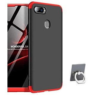 TBZ Ultra-thin 3-In-1 Slim Fit Complete 3D 360 Degree Protection Hybrid Hard Bumper Back Case Cover for Realme U1 with Mobile Ring Holder -Black
