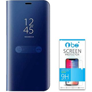 TBZ Luxury Mirror Clear View Magnetic Stand Flip Folio Case for RealMe U1 with Tempered Screen Guard -Blue